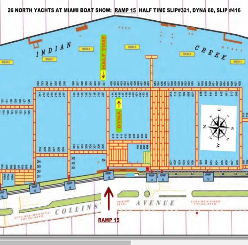 Miami Boat Show Map: Dyna 60 and Lazzara 116