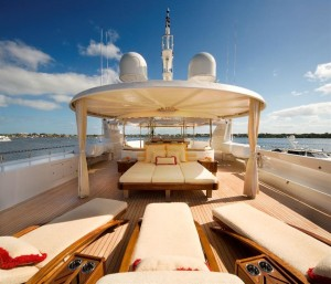 The Deck of the Harmony, a Westport 164, for sale by 26 North Yachts