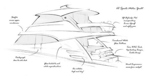Sketch of New 68 Foot Yacht